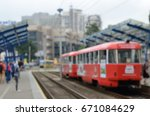 old tram on stop blur background   Shutterstock . vector #671084629