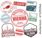 set of travel grunge stamps... | Shutterstock .eps vector #671090566