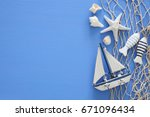 top view of nautical concept... | Shutterstock . vector #671096434