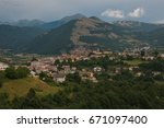 beautiful view of montereale... | Shutterstock . vector #671097400