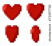 pixel red hearts flips. vector...