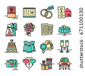 set line color icon for wedding.... | Shutterstock .eps vector #671100130