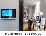 smart screen on wall with... | Shutterstock . vector #671100700