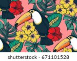 vector seamless pattern with... | Shutterstock .eps vector #671101528