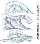 set of hand drawn sea waves in... | Shutterstock .eps vector #671101693