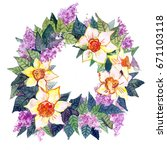 wreaths with flowers | Shutterstock . vector #671103118