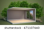 interior with large window. 3d... | Shutterstock . vector #671107660