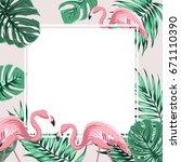 exotic tropical border frame... | Shutterstock .eps vector #671110390