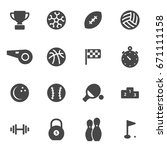 vector black sport icons set | Shutterstock .eps vector #671111158