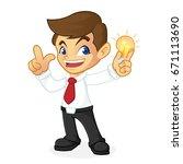 businessman holding light bulb... | Shutterstock .eps vector #671113690