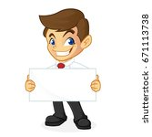 businessman holding blank sign... | Shutterstock .eps vector #671113738