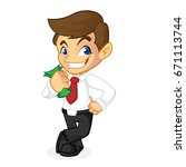 businessman leaning and holding ... | Shutterstock .eps vector #671113744