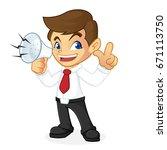 businessman holding megaphone... | Shutterstock .eps vector #671113750