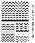 vector big set of seamless wavy ... | Shutterstock .eps vector #671119108