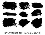 vector set of grunge artistic... | Shutterstock .eps vector #671121646