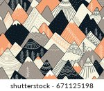 seamless pattern with mountains ... | Shutterstock .eps vector #671125198