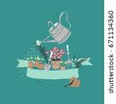 gardening theme card | Shutterstock .eps vector #671134360