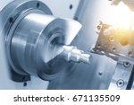 cnc lathe machine  turning... | Shutterstock . vector #671135509