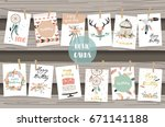 cute cards for banners flyers... | Shutterstock .eps vector #671141188