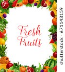 exotic and garden fruits frame... | Shutterstock .eps vector #671143159