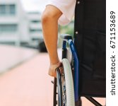 a disable man on wheelchair.... | Shutterstock . vector #671153689