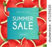 summer sale banner. poster ... | Shutterstock .eps vector #671154220