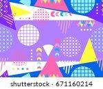 memphis seamless pattern.... | Shutterstock .eps vector #671160214