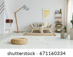 big white carpet and brown rug... | Shutterstock . vector #671160334