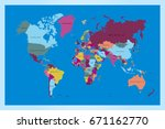 world map countries vector on...   Shutterstock .eps vector #671162770