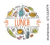 lunch time concept design. hand ... | Shutterstock .eps vector #671163979