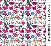 old school seamless pattern... | Shutterstock .eps vector #671169070