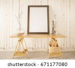 front view of wooden table with ... | Shutterstock . vector #671177080