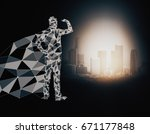 abstract polygonal hero with... | Shutterstock . vector #671177848