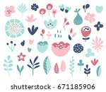 flower composition. set design... | Shutterstock .eps vector #671185906