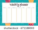 weekly planner in scandinavian... | Shutterstock .eps vector #671188003