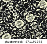 seamless luxury pattern with... | Shutterstock .eps vector #671191393