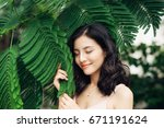 portrait of pretty young woman... | Shutterstock . vector #671191624