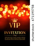 vip invitation card with gold... | Shutterstock .eps vector #671195758