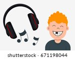 joyful boy with missing tooth... | Shutterstock .eps vector #671198044