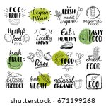 healthy food hand drawn... | Shutterstock .eps vector #671199268