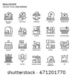 real estate  square icon set.... | Shutterstock .eps vector #671201770