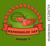 watermelon day poster. greeting ... | Shutterstock .eps vector #671206714