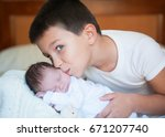 two happy brothers | Shutterstock . vector #671207740