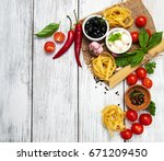 italian food ingredients on a... | Shutterstock . vector #671209450