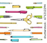 isolated set of stationery hand ...   Shutterstock .eps vector #671212294