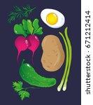 spring salad vegetable vector... | Shutterstock .eps vector #671212414