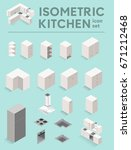vector isometric kitchen set.... | Shutterstock .eps vector #671212468