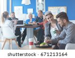 pair of employees having a...   Shutterstock . vector #671213164