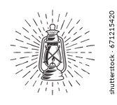vintage kerosene lantern with... | Shutterstock .eps vector #671215420
