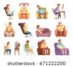 sedentary lifestyle set of... | Shutterstock .eps vector #671222200